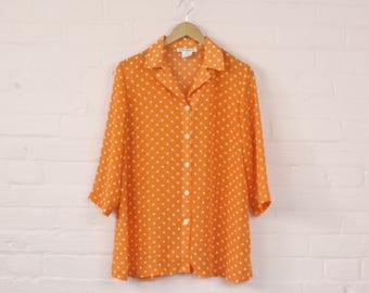 90s Sheer Orange Polka Dot Blouse · 90s See Through Blouse · 90s Polka Dot Shirt · 1990s Sheer Blouse · Sheer Orange 1990s Shirt · S