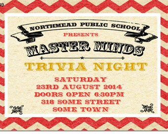 School Trivia Night Invitation Digital and Printable