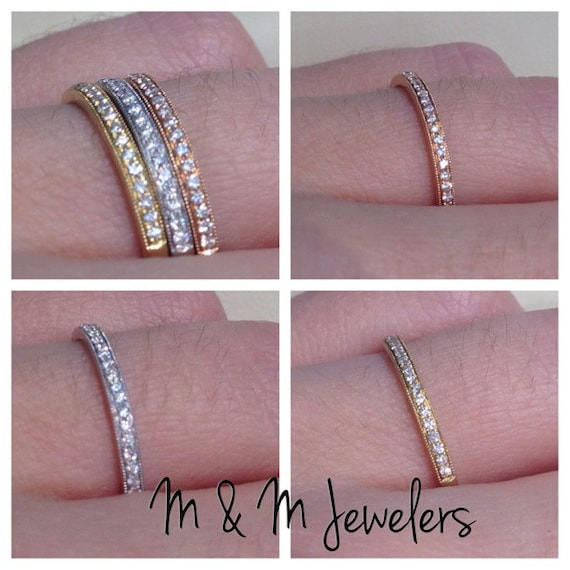 14K Rose, White, and Yellow Gold Antique Style Pave Set Milligrain Finish Diamond Stacking Bands