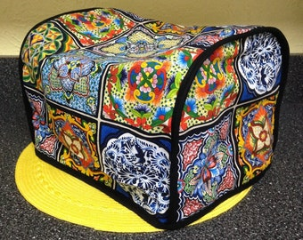 2 in 1 Mexican Talavera Tiles Fabric Long lot 2 Slice Toaster Cover Reversible  Black Quilted Fabric Side and FREE Fabric Coasters Readymade