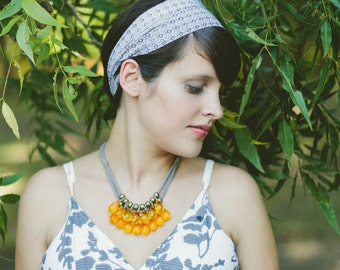 orange briolette, brass and grey necklace // pumpkin // fall // autumn color