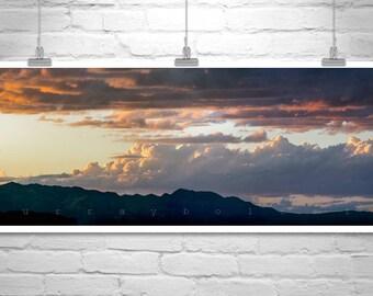 Tucson Desert Art, Panoramic Wall Art, Arizona Landscape, Sunset Photography, Desert Panorama, Ready to Hang Art, Arizona Gift, Tucson Gift