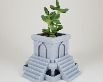 Aztec planter, Succulent planter, Desktop planter, 3d printed, pla, Planter, Mothers Day gift