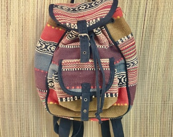 Boho Backpack Woven Handbag, Cotton Backpack with Front Pocket and Buckles