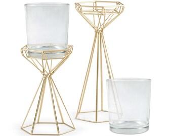 Geo Gold Centerpiece, Modern Vase Set, Modern Metal holder with Glass Vase, Wedding Centerpiece, Wire Floral Forms