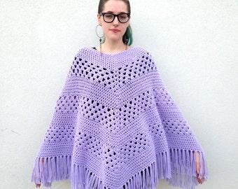 Vintage poncho Purple poncho Handmade poncho knit poncho Crochet poncho Sweater Fringe poncho Grandma sweater Shawl pastel poncho retro