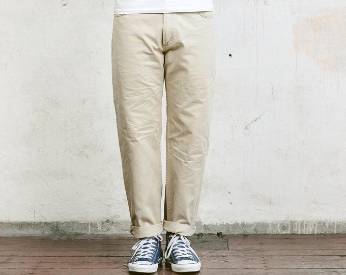 Beige Lee Jeans . Mens Denim Vintage Boyfriend Dad Jeans Distressed Zip Fly Jeans 90s Clothing . size W34 L32