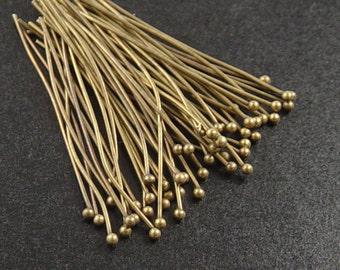 Brass Ball Headpins 50 Ball Pins Antique Bronze Color 1.25 inch (35mm) 23g (1067pin35z1)xz