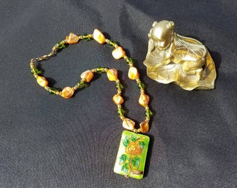 Lime Green and Orange Shell Necklace Featuring a Cloisonne Pendant