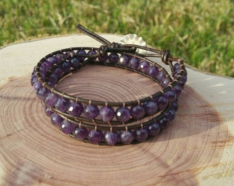 Amethyst and Leather Double Wrap Bracelet