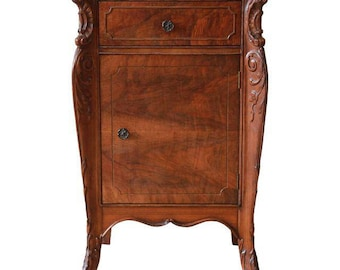 SOLD - Vintage French Flame Mahogany Nightstand