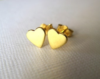Dainty Tiny Gold Vermeil Heart  Stud Earrings - Heart Stud Earrings  - Studs - Earrings - Heart studs