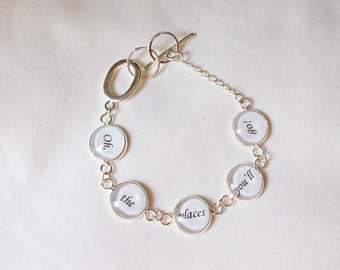 Dr Seuss Quote Bracelet For Women - Oh The Places You'll Go Graduation Gift - Bookworm Silver Bookish Tennis Accessories Modern Jewelry