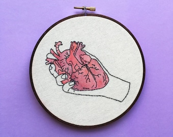 With My Heart In Hand - Contemporary Embroidery