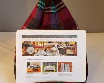 iPad and Tablet Holder / Beanbag in Pink and Burgundy Plaid Wool Fabric