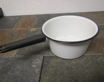 Vintage White Enamelware Pan with black handle * Enamel sauce pan, Enamel cookware