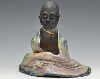 Bodhidharma Seated in Meditation Statue in Shimmering and Earthy Raku Robe