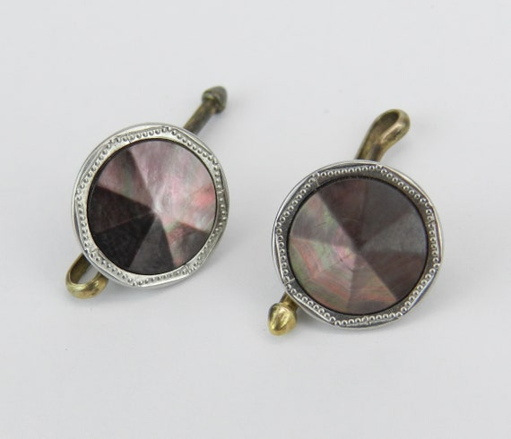 Platinum and 14K Gold Antique Art Deco Black Mother of Pearl Cufflinks
