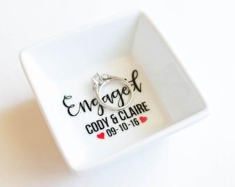 Ring Dish   Engagement Ring Dish   Bridal shower gift   Ring holder   Engaged   Custom Engagement Ring Holder   Jewelry dish