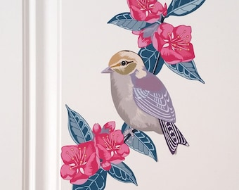 Wall Decal, Bird Wall Sticker, Floral Home Decor, Gift For Her, Modern Nursery, Baby Shower Gift