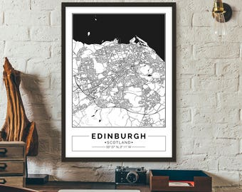 Edinburgh, Scotland, City map, Poster, Printable, Print, Street map, Wall art