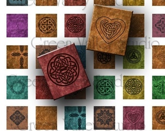 INSTANT DOWNLOAD Art Celtic Designs Digital Images Collage Sheet for Scrabble Tile Pendants .75 x .875 Inch (S21)