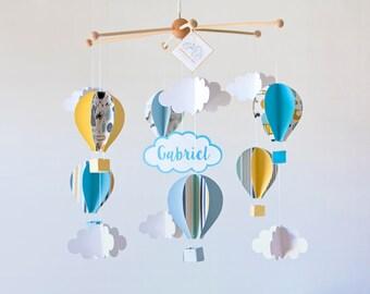 BLUE Hot air balloon BABY mobile, baby crib mobile, CUSTOME baby mobile boy, baby room, baby gift, nursery decor, kids mobile, babyshower