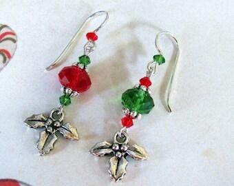Holly Leaf Earrings, Holiday Earrings, Swarovski Earrings, Christmas Earrings, Red Earrings, Green Earrings. Dangle Earrings, Holly Earrings