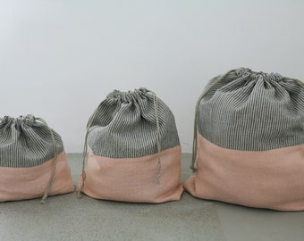 Project bag, knitting bag, linen knitting bag, knitting project bag, drawstring bag, crochet bag, linen project bag Three sizes