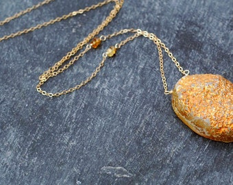cynosure... gold druzy and tourmaline necklace / copper oval druzy focal, tourmaline & 14k gold filled statement necklace / for her