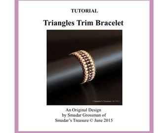 Beading Tutorial, Triangles Trim Bracelet Pattern. Beading Pattern with Kheops par Puca Beads. Beadweaving. How to Bead Textured Bracelet