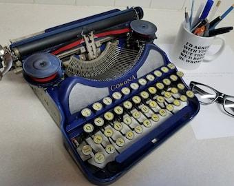 "Vivid True Vintage  ""Channel"" Cobalt Blue Smith Corona 4 Bank Typewriter Art Deco 1930s Glass Keys Working!"