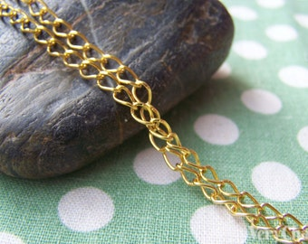 32ft (10m) of Gold Tone Extension Chain Curb Chain 3x4mm A2009