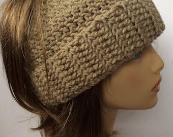 Messy Bun Ponytail Hat - Khaki