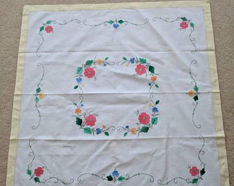 Vintage Square Tablecloth with Floral Design and Stitching