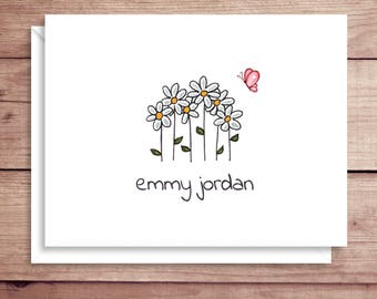Daisy Note Cards - Folded Note Cards - Personalized Floral Stationery - Daisy Thank You Notes - Butterfly Note Cards