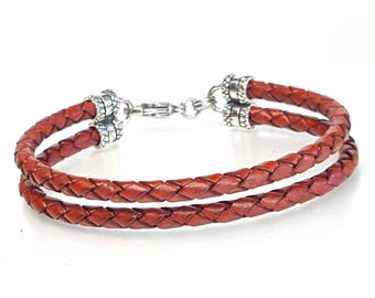 Braided Leather, Leather Bracelet for Women, Men's Leather Bracelet, Leather Cord Bracelet, Genuine Leather Bracelet with Sterling Silver