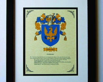 HERALDY COAT of ARMS ~ Sanchez Family Crest ~ Framed