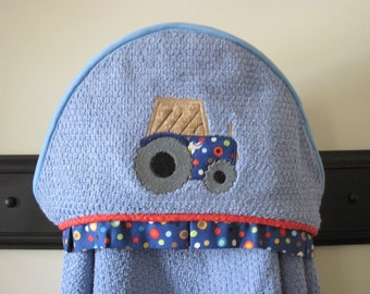 NEW Farm tractor applique hooded towel many colors