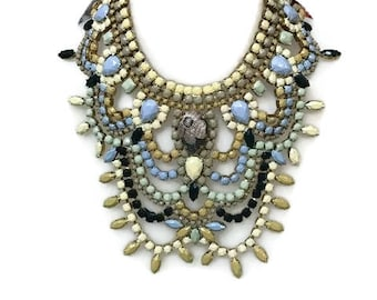 MUSTARD SORBET hand painted rhinestone super statement necklace