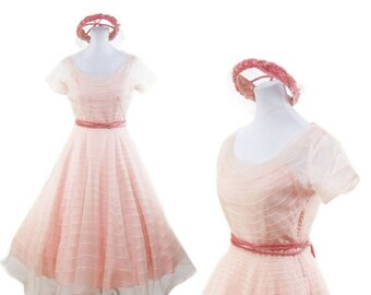 ON SALE 1950s Dress // Pink Sheer Organdy Embroidered Stripe Full Skirt Party Dress with Hat