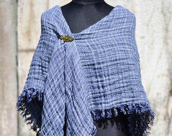 Lovely navy blue plaid pure linen shawl, natural linen, wrap, accessory, gift idea, ready to ship,