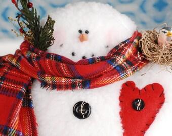 Whimsical Sherpa Snowman, Mr. Frostie Snowman, Standing Snowman, Handmade Snowman, Frosty Snowman