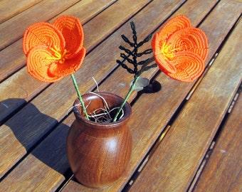 California Poppy - French Beaded Flower