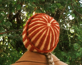 Double Knitted Corrugated Rib Cap in Rust and Peach