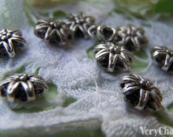 10 pcs Antique Silver Rondelle Flower Beads 9x9mm A1081