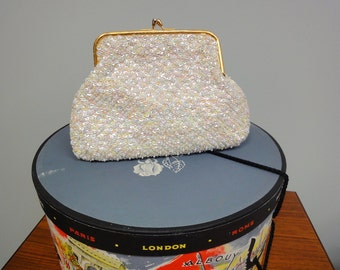 Vintage 50s 60s Beaded Bag, Sequined Handbag, Hong Kong, Evening bag or Bridal Clutch