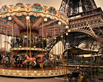 The Carousel by The Eiffel Tower Fine Art Photography, Instant Download, Digital, Printable, Downloadable wall decor