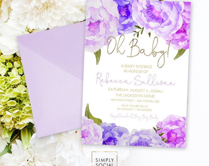 Purple Floral Baby Shower Invitation - Oh Baby Floral Lilac Faux Gold Foil Boho Flowers Watercolor It's a Girl Printable Party Invite