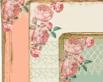 INSTANT DOWNLOAD -  Romantic Vintage Paper Pack  - Original Design  - Printable Digital Collage Sheets - Digital Download